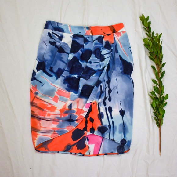 BCBGMaxAzria Dresses & Skirts - BCBGMaxAzria Silk Faux Wrap Mini Pencil Skirt M12